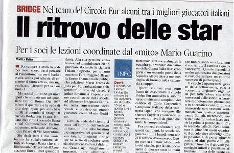 """Il quotidiano """"Il Tempo"""" dedica un articolo al Circolo del 'nostro' Carlo Carpentieri"""