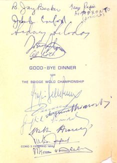 Memories of 1958 Bermuda Bowl: Argentina Italy and Usa in Como