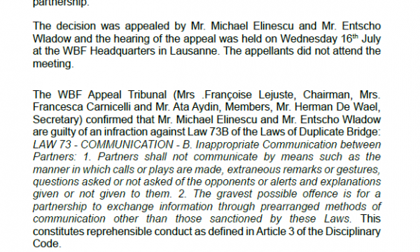 Elinescu-Wladow Affaire: Ruling of the WBF Appeal Tribunal