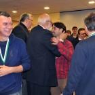 Giorgino Duboin (GS ALLEGRA - ITALY) with Gold Medal and WBF President Gianarrigo Rona congratulating Agus Madala (Italy)