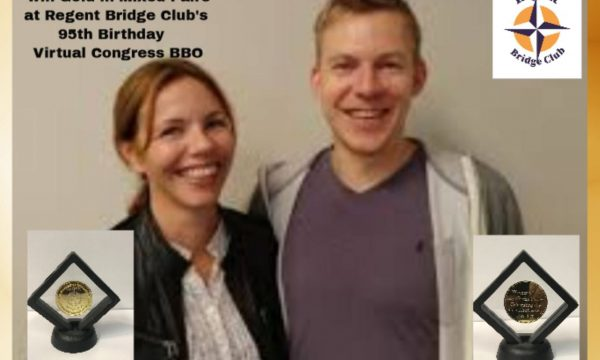 Regent Bridge Club: Tonje and Boye Brogeland won Opening Mixed Pairs